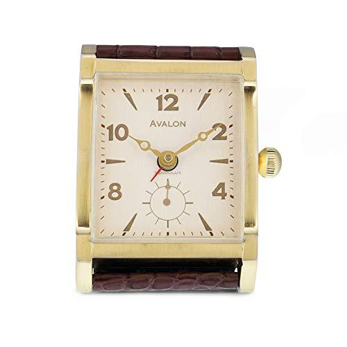 Pendulux Avalon Alarm Clock Brass, Bedside Alarm Clock and Desk Decorative Clock
