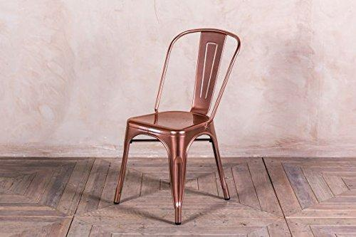 Peppermill Interiors BRIGHT COPPER TOLIX STYLE METAL DINING CHAIRS METALLIC ROSE GOLD STACKING CHAIRS (Bright Copper)