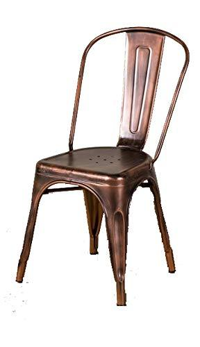 Peppermill Interiors TOLIX STYLE METAL DINING CHAIRS METALLIC STACKING CHAIRS (Vintage Copper)