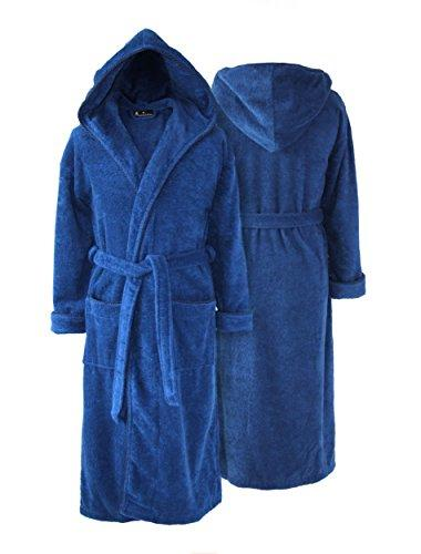 Personalised Hooded Towelling Bathrobe - Dark Blue With Spiral Cord (S - No Embroidery)