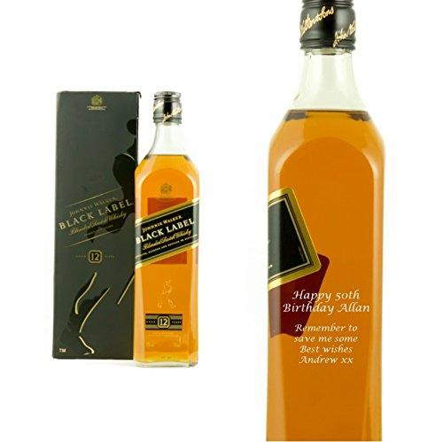 Personalised Johnnie Walker Black Label Whisky 70cl Engraved Gift Bottle