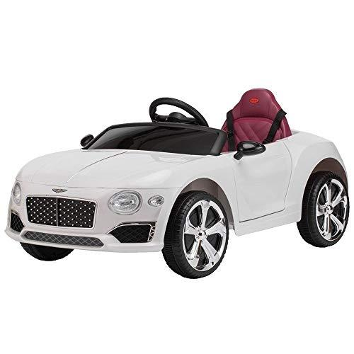 PETRLOY 2019 New Electric 4WD Sports Car Ride On Jeep Battery Operated Swing Child Baby Toy with Parental Remote Control +2.4G Bluetooth + Music Early Education Rocking Cradle Leather Seat White