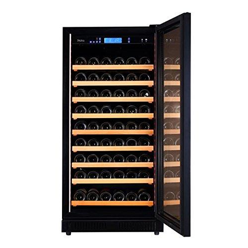 Pevino Wine Fridge - 96 bottles - Single zone - Black glass front