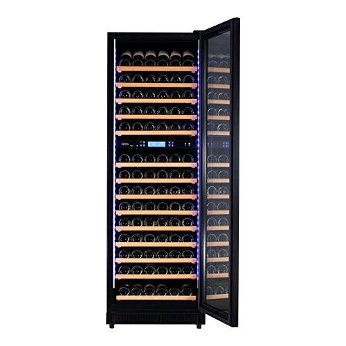 Pevino Wine Fridge - Up to 210 Bottles in a dual zoned wine cooler - Black front and UV-filtered glass door