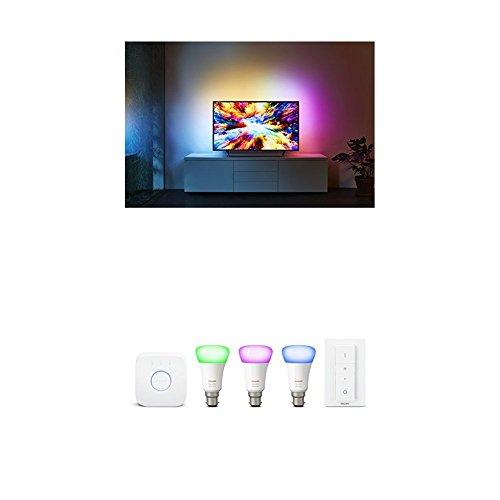 Philips 65PUS7303/12 55-Inch 4K Ultra HD Android Smart TV with 3-sided  Ambilight and Philips Hue White and Colour Ambience Wireless Lighting B22
