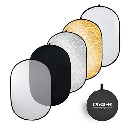 "Phot-R 5in1 Studio Light Reflector 120x180cm, 47""x71"" Collapsible Portable Studio Diffuser in Black, Silver, White, Gold & Translucent + Carry Case"