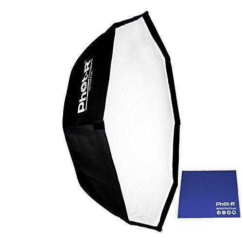 "Phot-R 95cm (37.4"") Octagon Octagonal Octabox Folding Umbrella Softbox Reflector with Bowens Mount Speedring and Elinchrom Adapter Photo Studio Strobe Flash for Flashguns and Speedlite + Chamois Cloth"