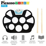 PicassoTiles PT50 Flexible Roll-Up Educational Electronic Digital Music Drum Kit w/ Recording Feature, 7 Different Drum Styles, 9 Different Rhythm Songs, Headphone/Speaker Modes- Blue