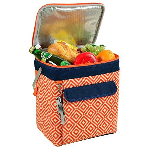 Picnic at Ascot 6 Bottle Insulated Wine Tote- Collapsible Multi Purpose Cooler - Orange/Navy