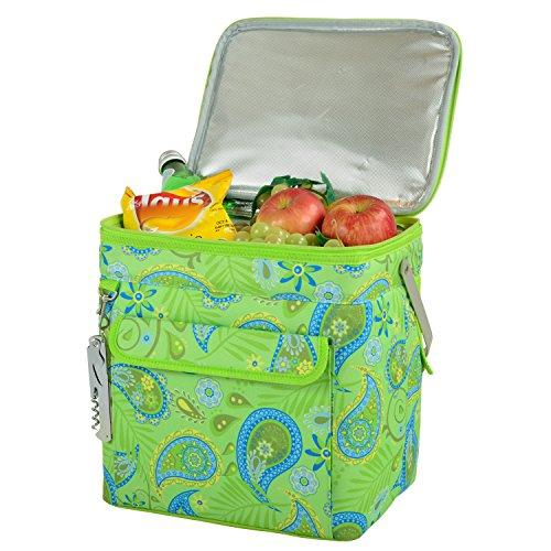 Picnic at Ascot 6 Bottle Insulated Wine Tote- Collapsible Multi Purpose Cooler - Paisley Green