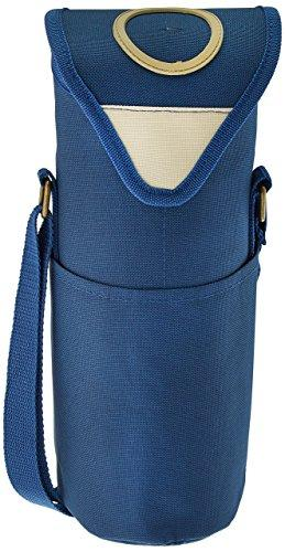 Picnic at Ascot Insulated Wine/Water Bottle Tote with Shoulder Strap - Aegean Blue