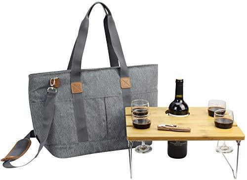 Picnic Basket Tote Set Table | Picnic Shoulder Bag Set | Stylish All-in-One Portable Set | 4 Person Table Service | Cooler Bag Camping | Insulated Tote Bag | Cooler Bag Business Gift [Grey]