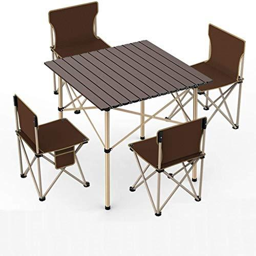 Picnic Table Fold Away Foldable Heavy Duty Folding Table With 4 Chair Set Suitable For Outdoor Picnic Garden Camping (Size : 70 * 70 * 70cm)