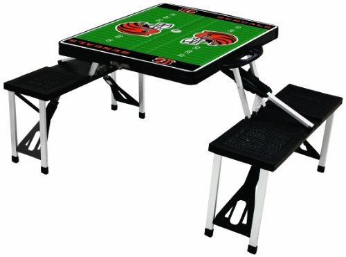 Picnic Time NFL Cincinnati Bengals Football Field Design Portable Folding Table/Seats, Black