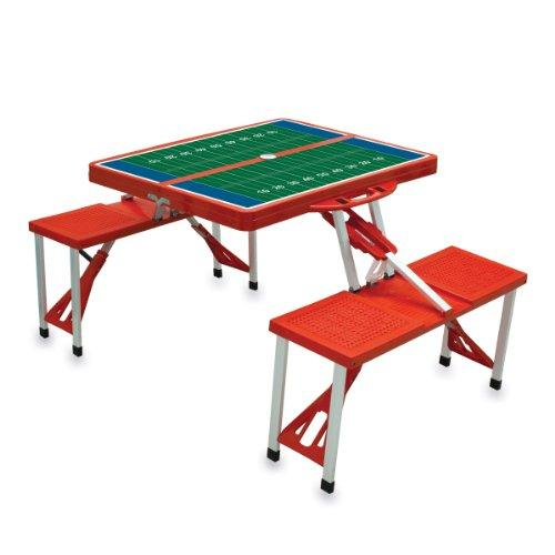 Picnic Time 'Portable Folding Picnic Table' with Football Field Design and Seating for 4, Red