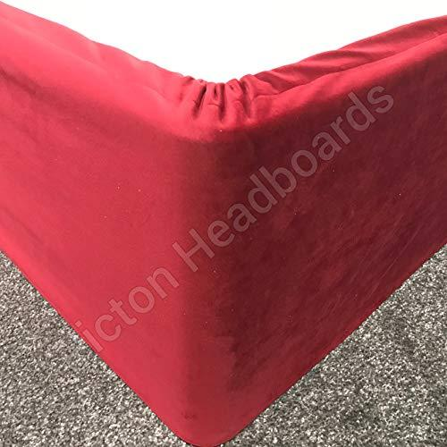 Picton Headboards Valances Elasticated Bed Valance Divan Base cover Bed wrap PLUSH VELVET ALL SIZES & COLOURS (Red, 4ft6 Double)