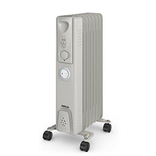 PIFCO P43003YT Oil Filled Radiator with 24 Hour Timer, 3 Heat Settings and Overheat Protection Feature 1500 W, Grey