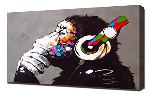 Pingoo Prints Banksy Thinking Monkey DJ Headphones - Canvas Art Print - Wall Art - Canvas Wrap
