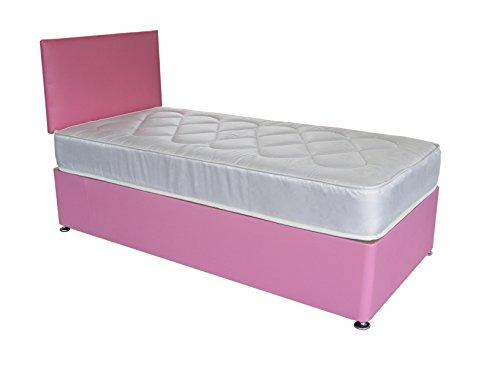 Pink Faux Leather Divan Bed Including Deep Quilt Mattress and Headboard kids (Available in 2'6 Small Single - 3'0 Single - 3'6 Large Single - 4'0 Small Double) (3'0x6'3 Single)
