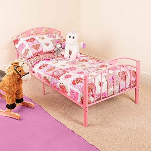 Pink Toddler Metal Bed Frame Kids Bedroom Furniture Childrens Bedframe Hearts