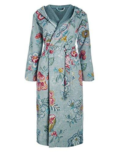 Pip Studio berry bird terry cloth bath robe, dressing gown, house coat with hood, floral print, 100% Cotton, blue, X-Large