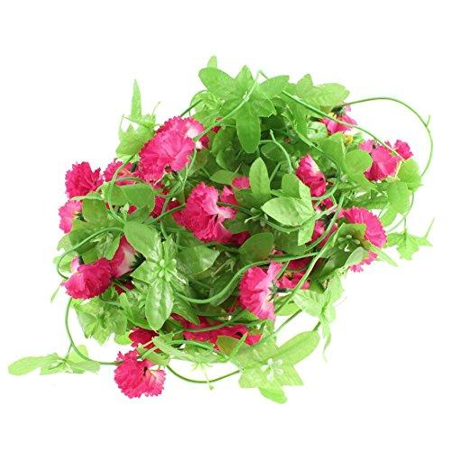 Plastic Simulated Vine Plant Flower Decor 6Ft 5 Pcs Light Green Red