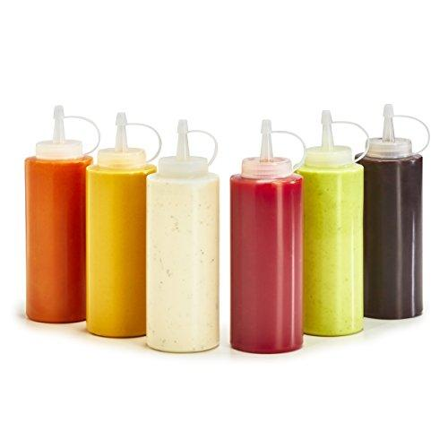 Plastic Squeezable Bottles for Ketchup, Barbecue, Sauce, Syrup, and Condiments, 6 Pack (12 Ounce)