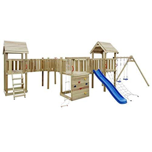 Playhouse Set with Slide, Ladders and Swings 800x615x294cm Wood Toys & Games Outdoor Play Equipment Swing Sets & Playsets