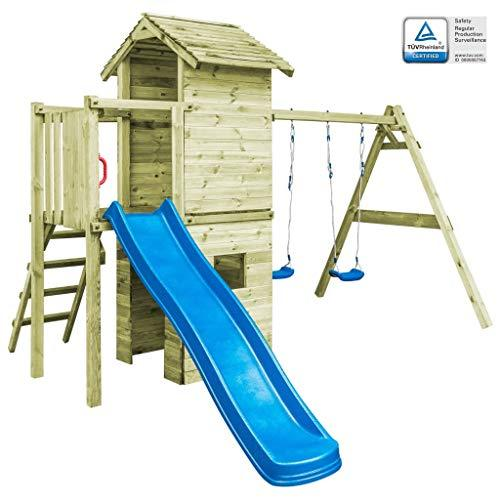 Playhouse with Ladder, Slide and Swings 390x353x268 cm FSC Wood Toys & Games Outdoor Play Equipment Swing Sets & Playsets