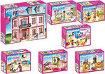 Playmobil Dollhouse 7pcs. set 5303 5304 5306 5307 5308 5309 5336 Romantic Dollhouse + Baby's Room with cradle + Colourful Nursery + Romantic Bathroom + Living Room with Fireplace + Parent's Bedroom + Built-in Kitchen with lounge