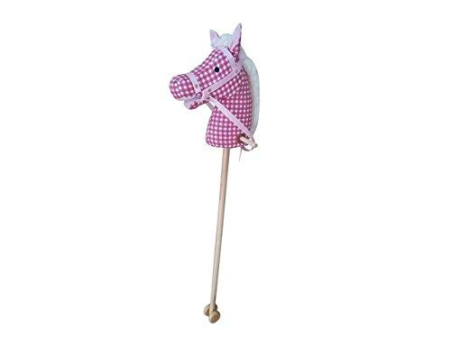 Plush Hobby Horse with Sound (Pink/White)