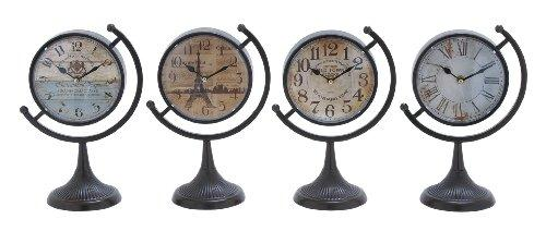 Plutus Brands Metal Desk Clock, Assorted with Fine Design, Set of 4