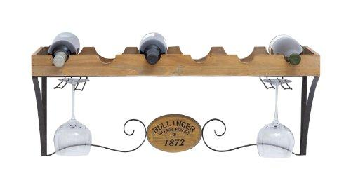Plutus Brands Wine Rack with Scrolls and Wood Grain Texture