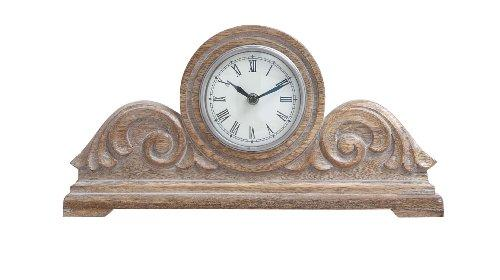 Plutus Brands Wood Carved Clock with Decorative Appeal