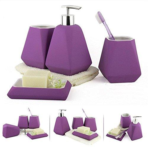 PLYY ceramics Bathroom Accessories Set Simpl color bathroom Four pieces set purple Rose red blue Light gray, Rose