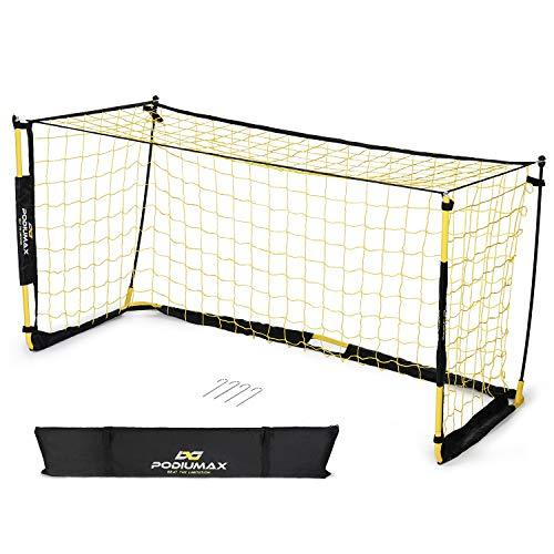 PodiuMax Ultra Portable Football Goal | Mini Practice Goal for Garden/Indoor/Outdoor/Camping | includes Football Net and Carry Bag | 2 x 1 m Perfect for Scrimmage Game, Team Games