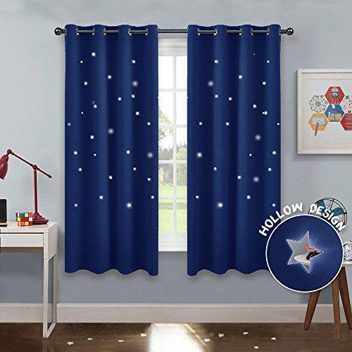 "PONY DANCE Blackout Curtains for Boys - (W 52"" x D 63"", Navy Blue, 2 Pcs) Nursery Room Darkening Eyelet Star Curtain for a Good Sleep Cut Out Curtains for Home Decoration & Noise Reducing"