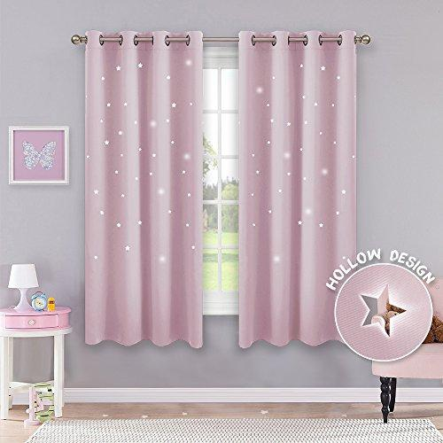 "PONY DANCE Star Curtains for Kids - (W 52"" x D 63"", Baby Pink, Set of 2) Eyelet Light Blocking Baby Pink Window Star Curtain for Girl's Bedroom Super Soft Starry Night Window Blinds for Decoration"