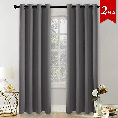 "PONY DANCE Window Blackout Curtains - 96"" Long Room Darkening Window Draparies for Living Room Nursery Curtain Panles for Home Decoration, Wide 55"" by Depth 96 in, 2 panels, Grey"