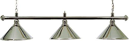 POOL TABLE LIGHTING POLISHED CHROME BAR WITH 3 POLISHED CHROME SHADES##