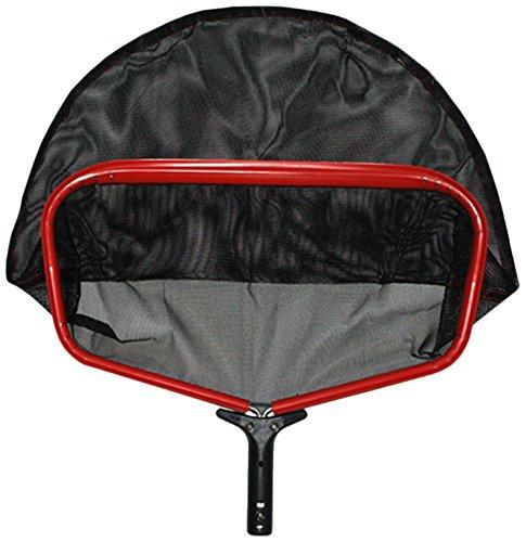 Pooline Products 11522L Large Heavy Duty Deep Rake with Durable PE Stiff Net, Includes Red Frame, Black Handle and Black Netting