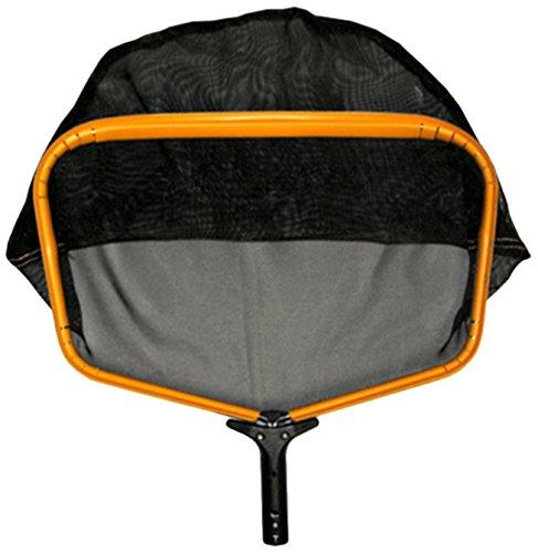 Pooline Products 11524L Large Heavy Duty Deep Rake with Wide Mouth and Durable Nylon Stiff Net, Includes Orange Frame, Black Handle and Black Netting