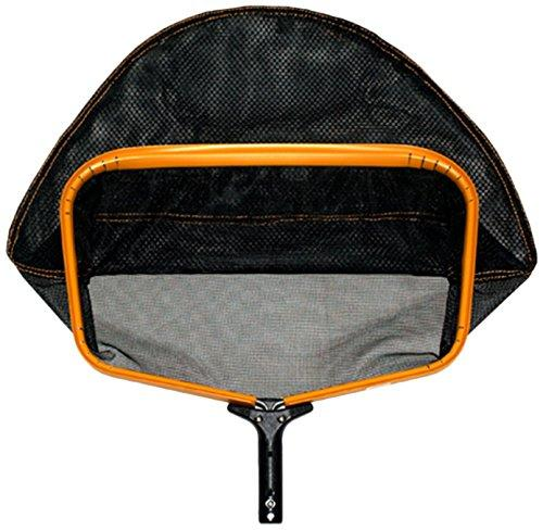 Pooline Products 11524TL Large Heavy Duty Deep Rake with Wide Mouth and Durable Soft Net, Includes Orange Frame, Black Handle and Black Netting