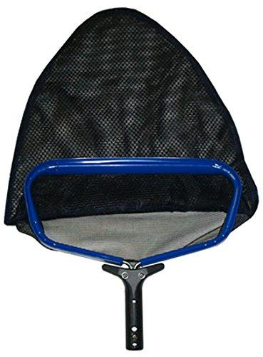 Pooline Small Heavy Duty Deep Rake with Durable Soft Net - Blue Frame - Black Handle - Black Netting