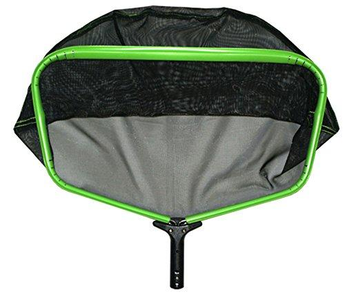 Pooline X Large Heavy Duty Deep Rake wide Mouth and Durable Nylon Stiff Net - Green Frame - Black Handle - Black Netting