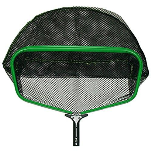 Pooline X Large Heavy Duty Deep Rake with Durable Soft and Big Mesh Net -Green Frame - Black Handle - Black Netting