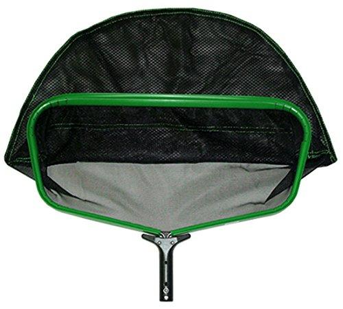 Pooline X Large Heavy Duty Deep Rake with Durable Soft Net - Green Frame - Black Handle - Black Netting