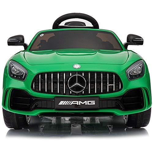 Poooc Children's electric car four-wheeled human toy 1-10-year-old baby remote control rocking racing pearl white-standard version-music early education + independent double battery ( Color : Green )