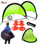 Pop Up Football Goal Set - 2 Goals with 8 Training Disc Cones + Carry Case - Lightweight + Strong Pop Up Goals For The Garden, Park or Training - 4ft (120cm) Bright Green Net