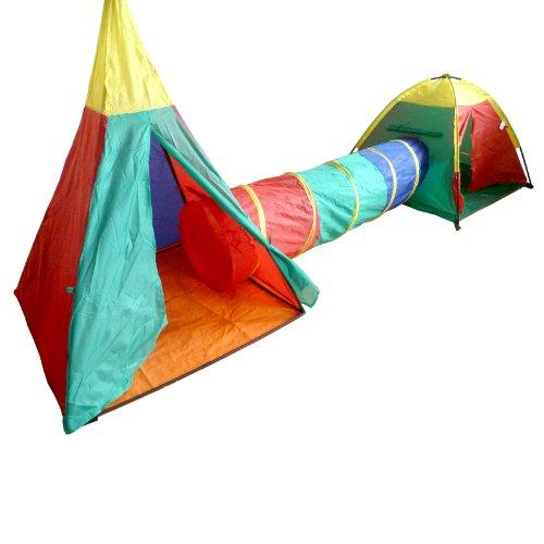 Pop Up Play Tents And Tunnel Set - Set contains 3 pieces